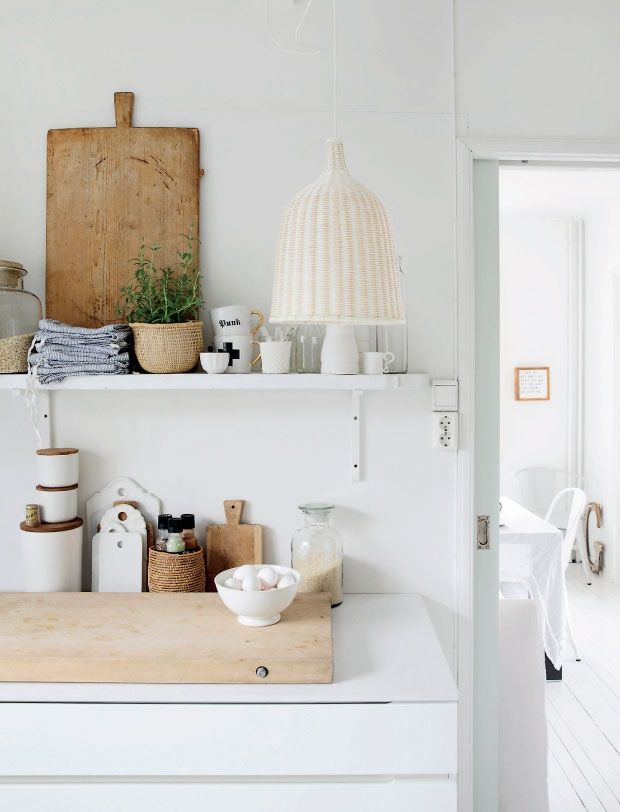 wood, white & wicker (open shelf)