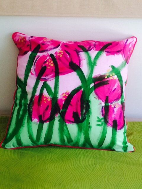 Bubblegum pink and green floral handpainted cotton by LouiseMKent