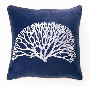 Blue Velvet Coral Pillow- Elegance and Luxury!