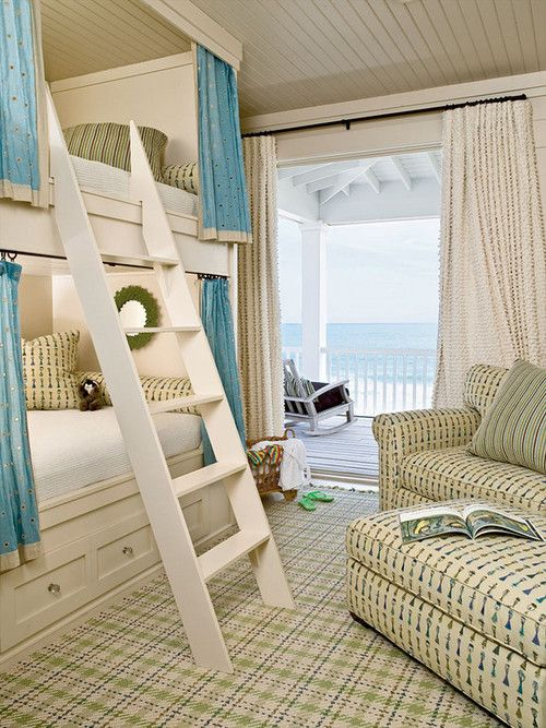 Beach House Bedroom: Idea, Lakes House, Beaches House, Bunk Beds, Bunk Rooms, Guest Rooms, Beaches Cottages, Kids Rooms, Built In Bunk