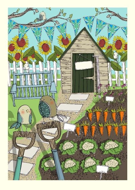 The Potting Shed Vegetable Patch Gardening Blank Jules Miller Card £2.50 - FREE UK delivery!
