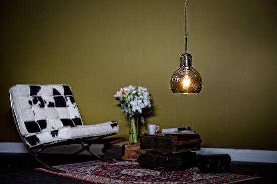 EGLO Vintage - Hanglamp - 1 Lichts - Chroom - Aluminium, Amberkleurig Glas