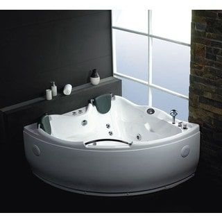 EAGO AM125 White Acrylic 5-foot Double Corner Whirlpool Bathtub