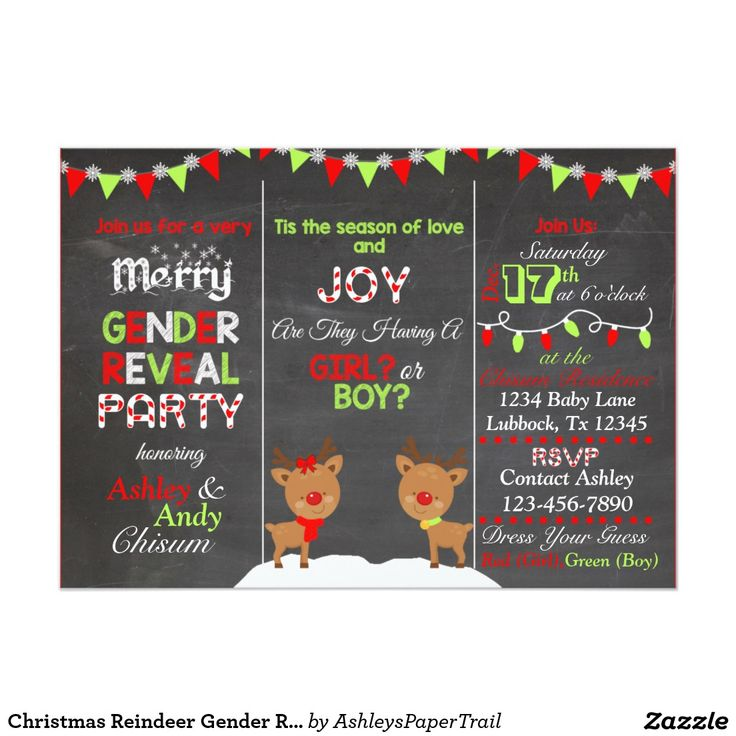 Christmas Reindeer Gender Reveal Invitation from Ashley's Paper Trail   Elf, Elves, Reindeeer, Gingerbread, Snowman Holiday Gender Reveal Theme  What the Elf will it be? Tis the Season of love and joy. Are they having a girl or boy? Buck or Doe? Soon we will know Red, Neon Lime Green, Aqua, Teal