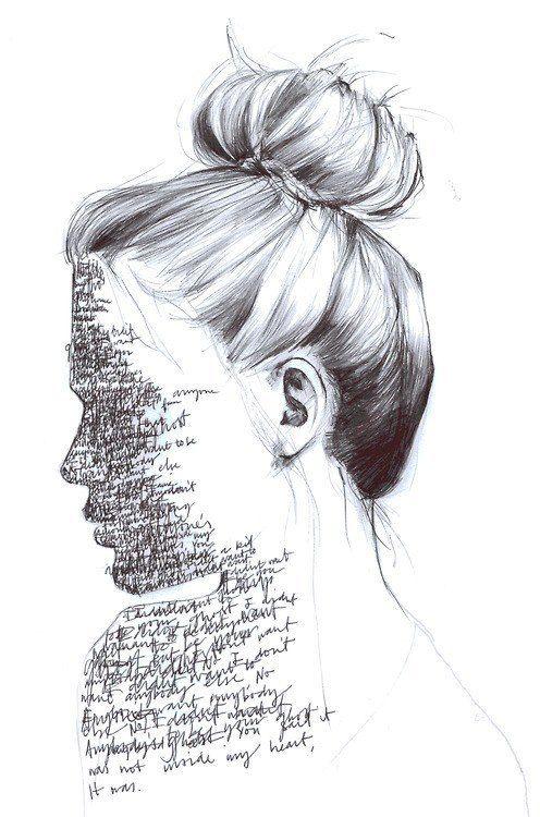Garota. Palavras. Desenho. Arte. Preto e branco.