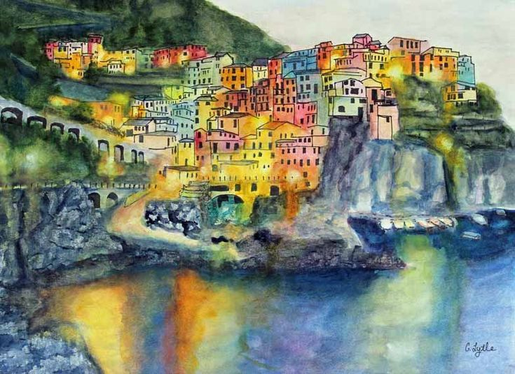 Landscape Painting,Watercolor,Manarola,Italy,Original Watercolor,Watercolor Art,Ocean,Fine Art,Gift Ideas,Giclee,Prints,Carol Lytle by Lytlebitartisitic on Etsy