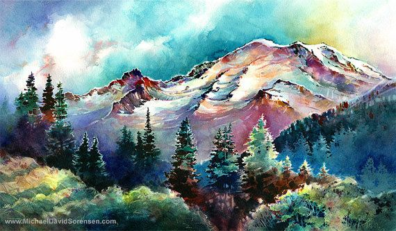 """Mt. Rainier Through the Trees"" Watercolor Art Print by Michael David Sorensen  www.MichaelDavidSorensen.com"