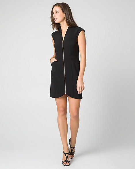 Woven V-Neck Mini Dress - An exposed zipper trims the V-neckline this cap sleeve mini dress, while tailored seaming structures its fitted silhouette fashioned with roomy front pockets.
