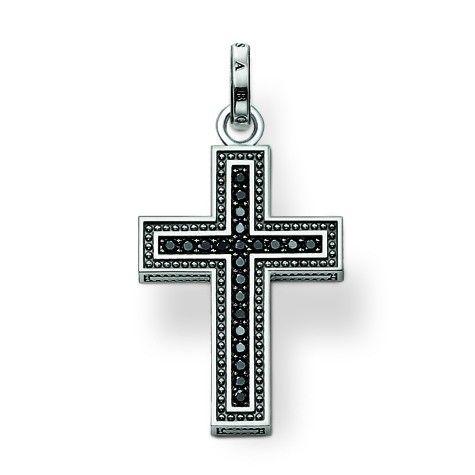 Thomas Sabo: Stunning unisex piece of jewellery: the black zirconia-adorned cross. $189.