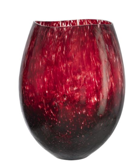 A big, gorgeous vase in burgundy red. Kosta Boda.  Design: 2001, Kjell Engman (Collection Dino) H: 430mm  Grand in scale, yet elegant, even gracile in conception.