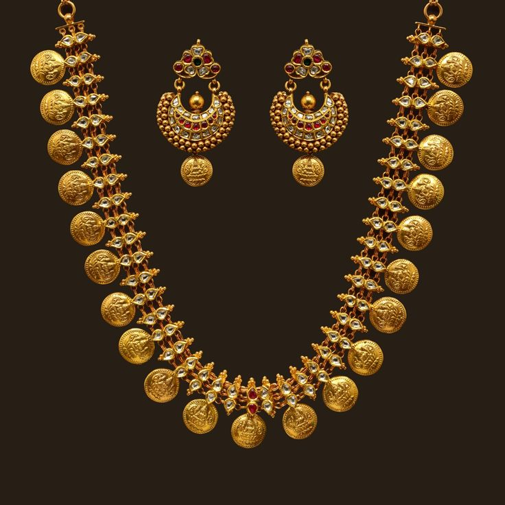 Antique Finish Long Necklace Set (VBJ-OW-GN-8) | Vummidi Bangaru Jewellers