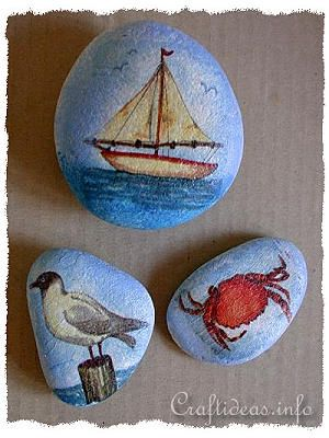 Paper Napkin Decoupage for Maritime Rock Paper Weights