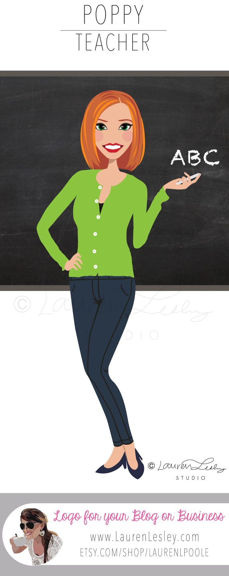 Teacher Illustration Logo | Tutor Professor Instructor Clip Art | Character Design | Avatar | Portrait | Chalkboard | ABC Designed by Lauren Lesley Studio. All rights reserved.