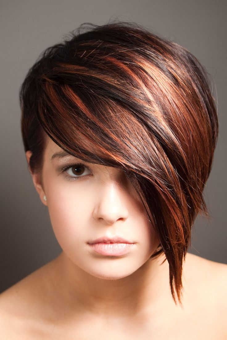 Perfect asymmetric bob with high & low lights in a perfect bronze & chocolate brown-- I love the color of this hair!