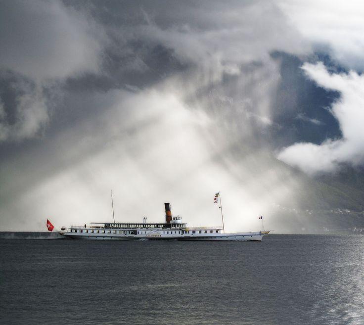 Steam Boat on Lake Geneva. Lucky timing!