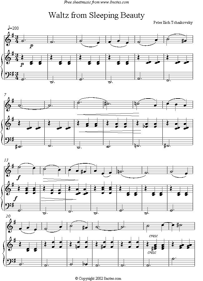 Tchaikovsky -  Waltz from Sleeping Beauty sheet music for Violin