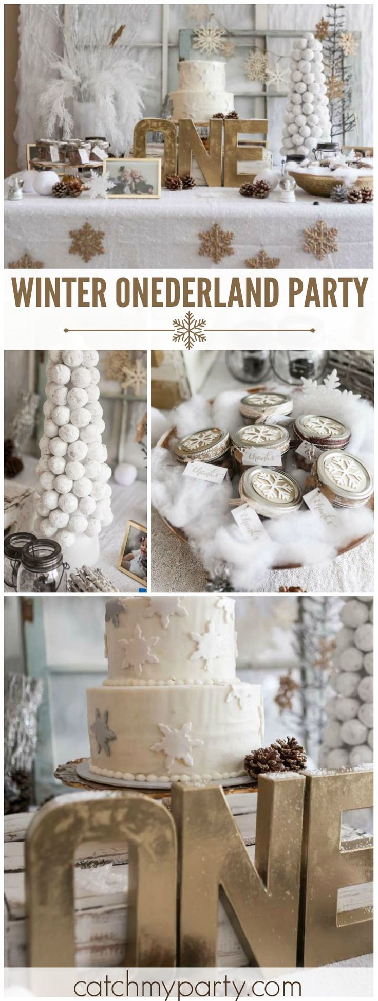 What a gorgeous Winter Onederland party in white and gold for twins! See more party ideas at CatchMyParty.com!