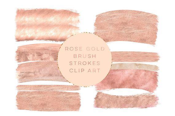 Rose gold brush strokes clipart, peach gold brush clip art, pink peach gold paint clip art, wedding peach gold Paint Clip art, winter gold