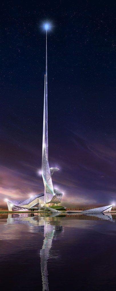 Dit is een toren gebaseerd op fantasie. Het is een licht materiaal gemaakt van glas
