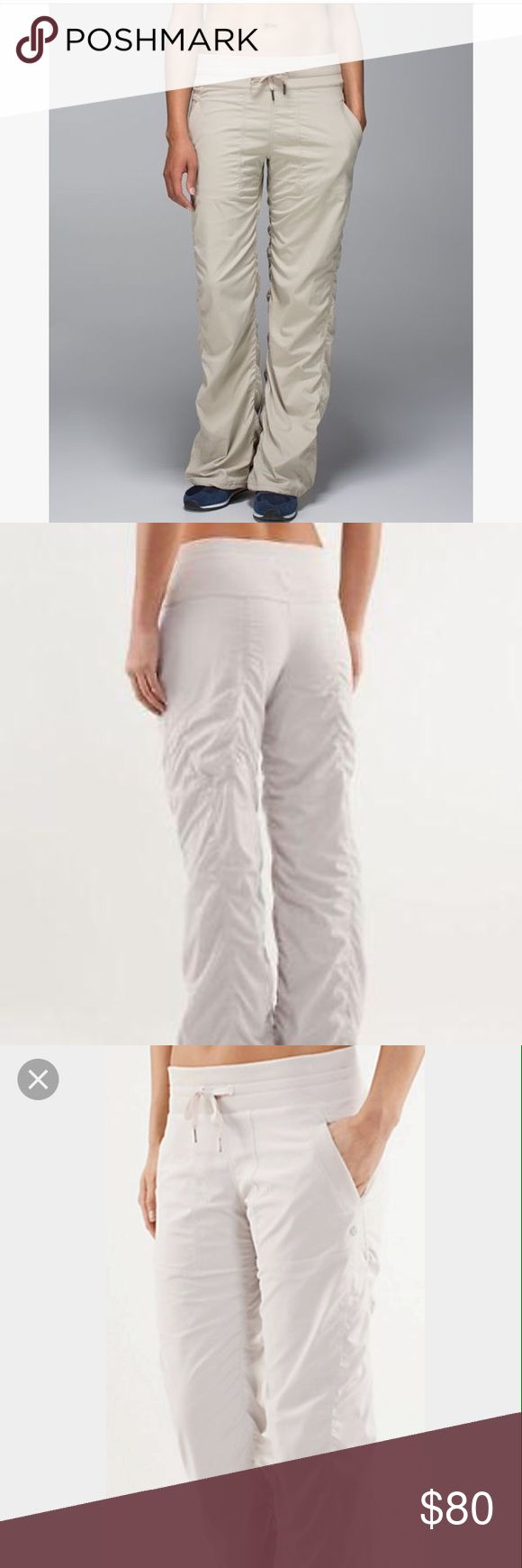 Lululemon Athletica cream dance ruched pants Lululemon Athletica cream dance ruched pants-these have no size tag but fit a small/medium best-sizes 4-8 for a better fit. Measurements upon request. lululemon athletica Pants Track Pants & Joggers