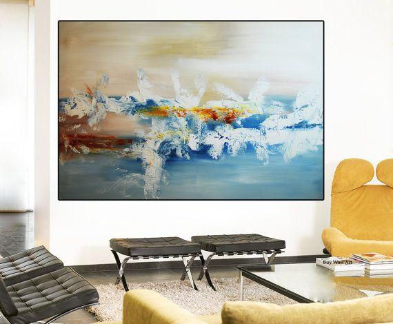 Abstrakte Malerei grau-blaue Malerei große abstrakte von BuyWallArt