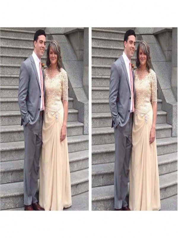 14ad259c1f920 Sheath Scoop 1/2 Sleeves With Applique Floor-Length Chiffon Mother Of The  Bride Dresses