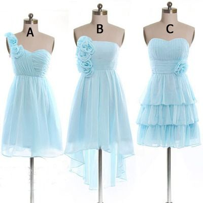 Ice blue short chiffon bridesmaid dresses,simple cheap bridesmaids dresses