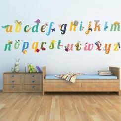 Kit Cameretta Alphabet Alfabeto Illustrato Wall Sticker Adesivo da Muro Componibile