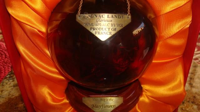 This bottle is very rare, last produced in 2007. All glass handblown and was made by a glass bottle artisan in England that closed its doors in 2008. Cognac Ferrand is the bottler, and the Cognac was at least 25 years old when bottled. This collector's Mayflower bottle in its original red case. http://www.bottle-spot.com/posts/106708/san-francisco-california-brandy-for-sale--landy-cognac-750ml-original-famous-ships-the-mayflower