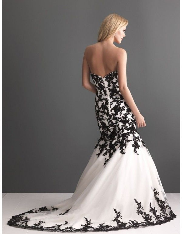 Black And White Embroidery Wedding Dresses Bw 012