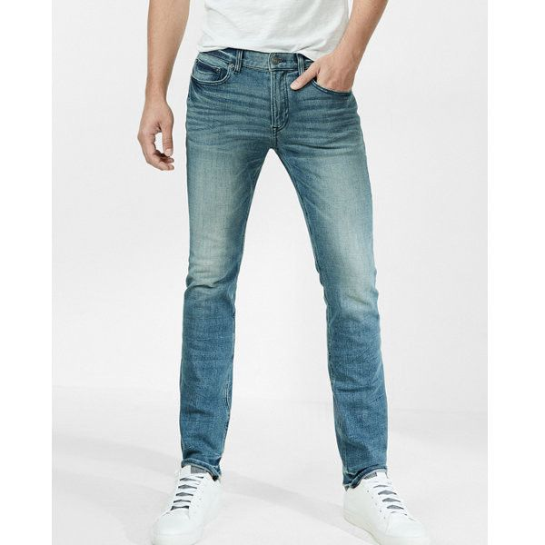 Express Eco-friendly Slim 4-WAY Stretch 365-COMFORT Jeans ($88) ❤ liked on Polyvore featuring men's fashion, men's clothing, men's jeans, blue, express mens jeans, mens slim fit stretch jeans, mens slim cut jeans, mens blue jeans and mens slim fit jeans