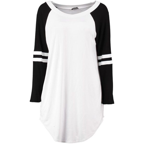 Heidi Contrast Basketball Oversized Tee (45 MXN) ❤ liked on Polyvore featuring tops, t-shirts, shirts, long sleeves, dresses, white long sleeve tee, long sleeve shirts, oversized long sleeve shirt, oversized long sleeve t shirt and long-sleeve shirt