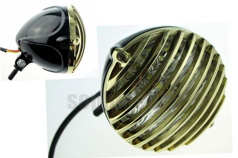 "- OLD SCHOOL ""SCALLOPED"" ALUMINUM FINNED GRILLED & BLACK BODY 5 3/8"" HEADLIGHT w/ CLEAR LENS. - Color: Black shell house brass ring. We are a wholesaler of motorcycle fairings and aftermarket motorcycle parts in China. 