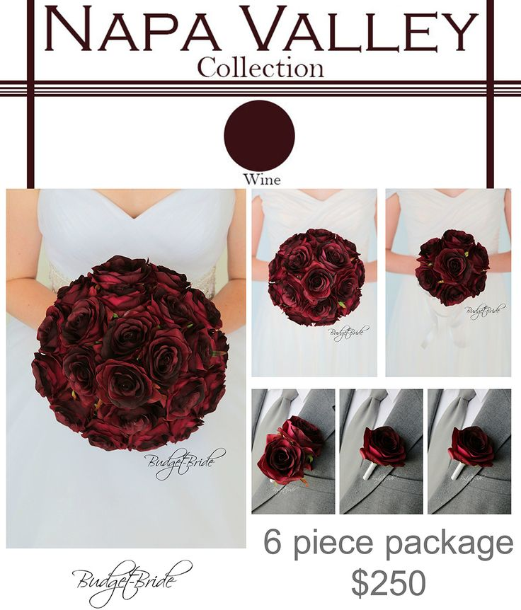 Wine Davids Bridal wine Wedding Bouquet all rose for your whole wedding party boutonniere and maid of honor
