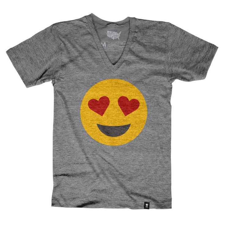 """Size Chart The Stately Type Heart Eyes Emoji T-shirt features the famous """"heart eyes"""" emoji in yellow, red, and charcoal on a heather gray tri-blend tee. We create a new tee like this every week—follo"""