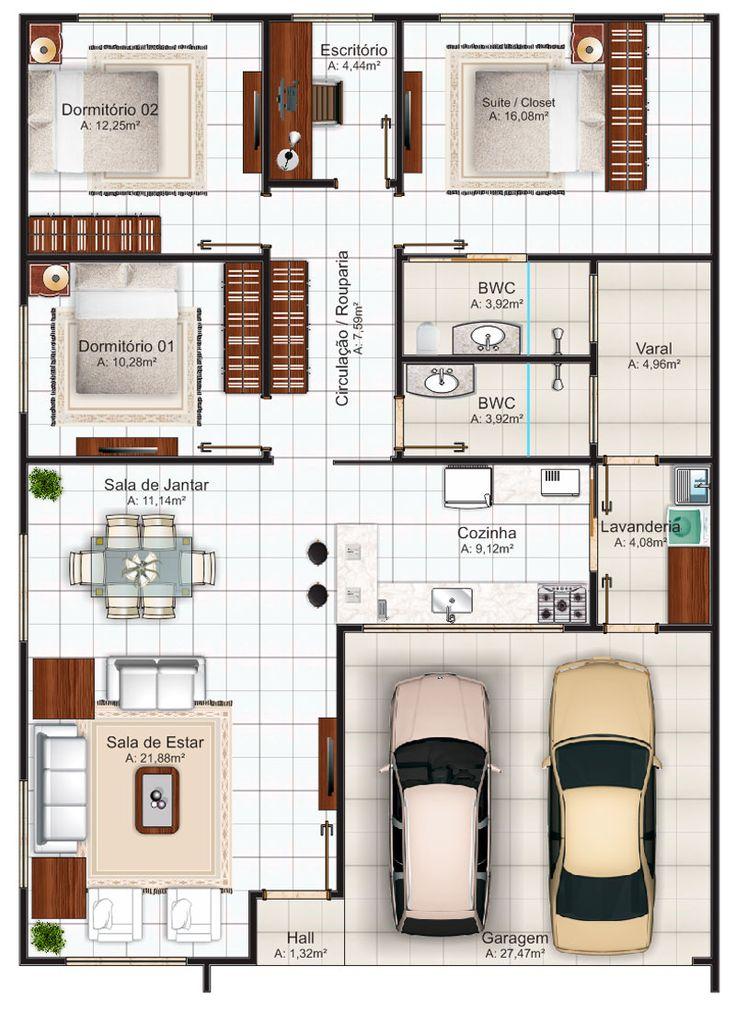 planta de casas 3 quartos com suite - Pesquisa Google