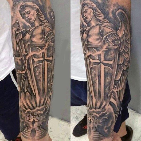 13 best saint michael tattoo images on pinterest sleeve for Tattoos catholic church