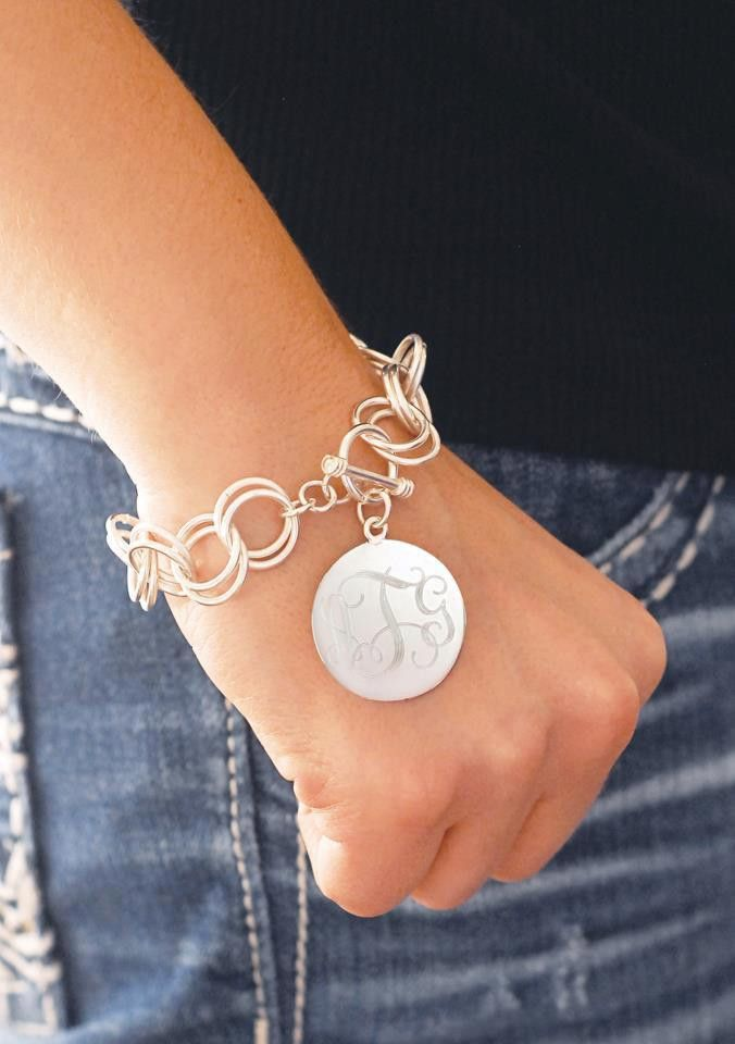 Charm Bracelet with Monogrammed Disk, Sterling Silver Plated, Personalized, $46