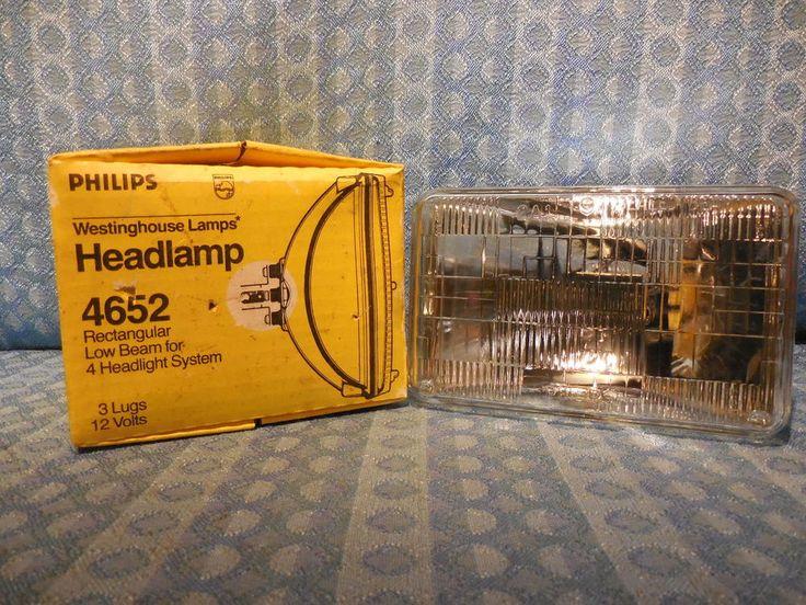 New Phillips Rectangle Sealed Beam Headlight Bulb #4652 GM Ford Mopar 12 Volt #Phillips