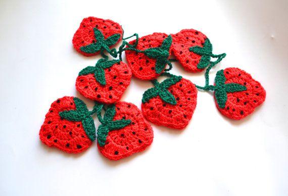 Crochet Strawberry Garland Crochet Bunting by LittleFoxCrochet
