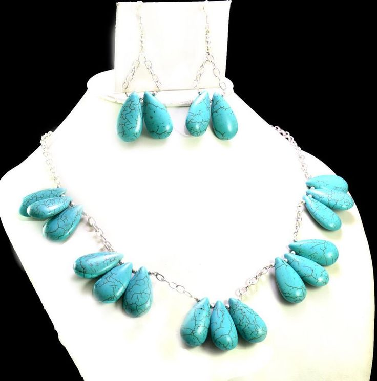 425ct Natural Semi Precious Blue Turquoise Designer Beads Necklace with Earrings #Handmade #Choker