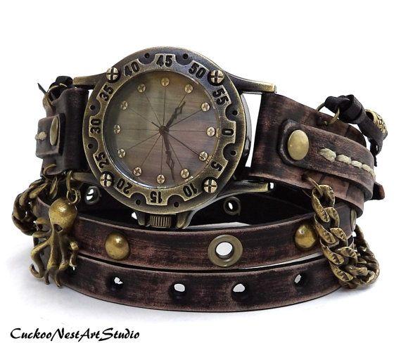 Steampunk Wrap Watch, Antique Brown Wrap around Watch, Womens leather watch, Vintage looking Bracelet Watch, Rustic Wrist Watch by CuckooNestArtStudio Sold
