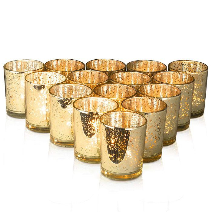 50 Budget Friendly Reception Decor Items For Your Wedding Junebug Weddings Gold Votive Candles Gold Votive Candle Holders Glass Tealight Candle Holders