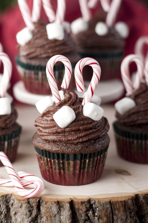 Chocolate Cupcakes and Hot Chocolate Buttercream frosting recipe are chocolate treats topped with fluffy, chocolate frosting that are perfect for Christmas!