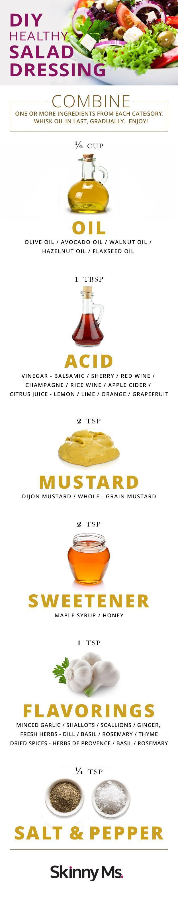 This  handy DIY Healthy Salad Dressing chart is so helpful. You'll be able to make a dressing and get creative with the flavors. #diysaladdressing #saladdressing #vinaigrette