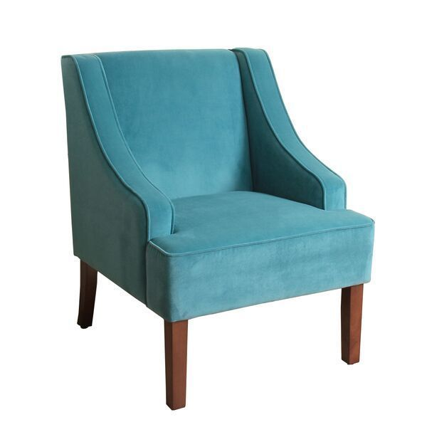HomePop Swoop Arm Accent Chair in Teal (Turquoise) Velvet (Teal (Turquoise) Velvet), Blue