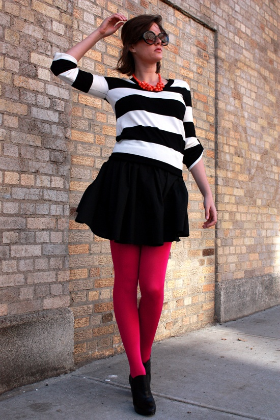 Black and White with a pop of red. Great, almost nautical look, with coloured tights. | Outfit | Look | Fashion | Black and White | Stripes | Red Tights | Casual work wear | Weekend | Autumn | Winter |