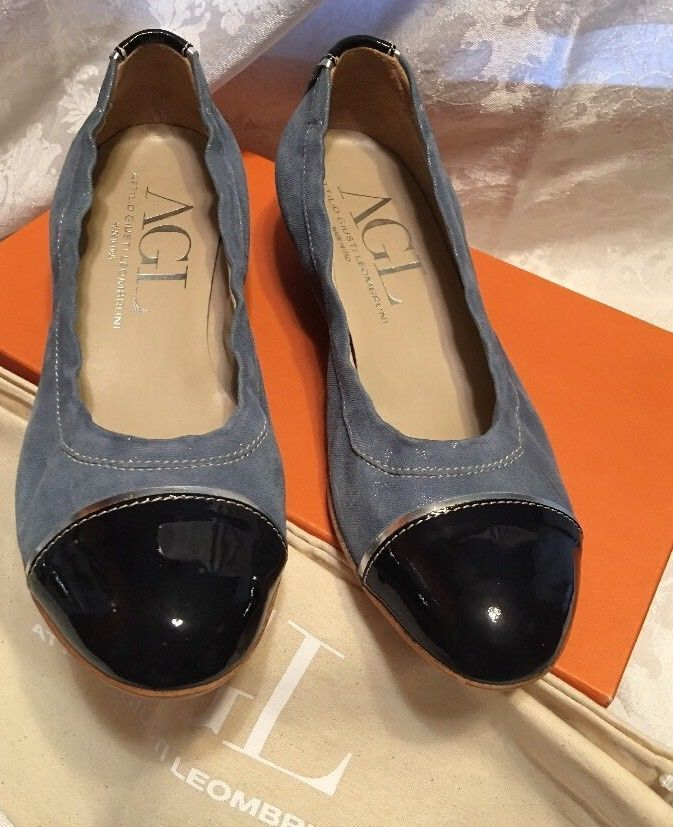 c431b52f88a AGL Women s Leather Wedges Size 8 38 Made In Italy Navy Sky Blue Silver  Shoes