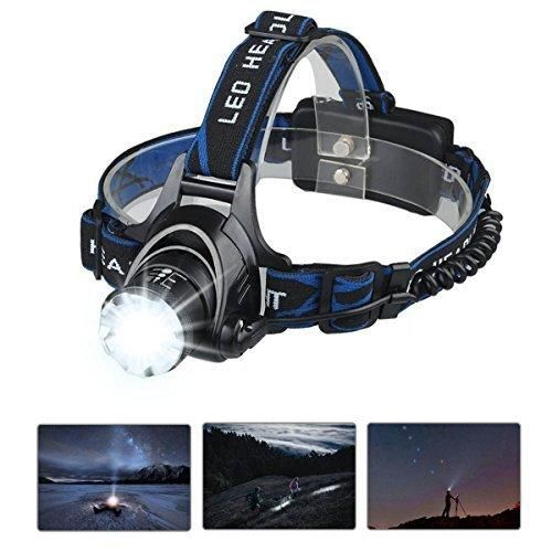 Mifine Waterproof LED Headlamp with Zoomable 3 modes 1000 Lumens light hands-free headlight with Rechargeable batteries for biking camping hunting running rainy weather