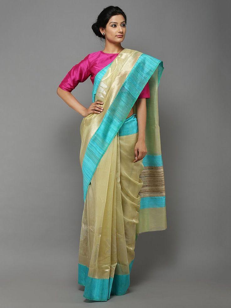 Yellow Blue Handwoven Banarasi Cotton Silk Saree